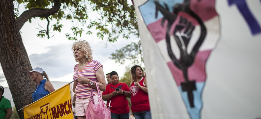 A march in support of transgender health rights.