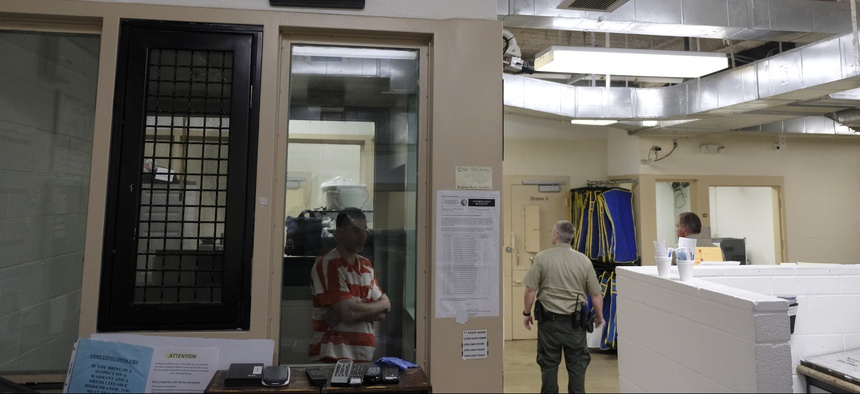 Near the booking area of a California jail. The Getting Home Safe Act would prevent county jails from releasing people in the middle of the night.