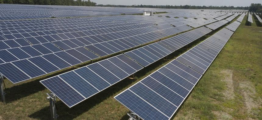 This Aug. 6, 2019, file photo shows Dominion Energy's Scott Solar farm in Powhatan, Va.
