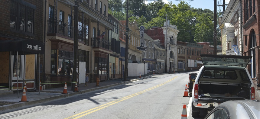 Damage in downtown Ellicott City in August, 2018, three months after the second major flood in less than two years.