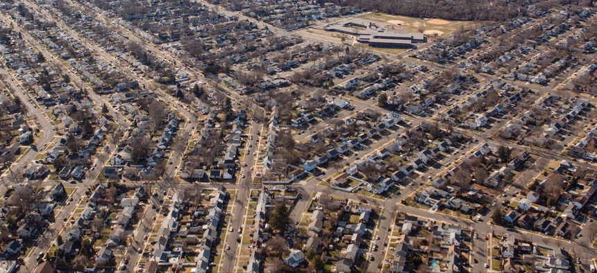 An aerial view of homes on Long Island, New York.