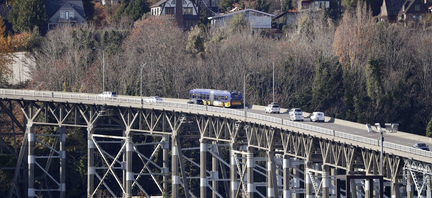 Traffic passes over the 90-year old Magnolia bridge, aging and in need of replacement, Wednesday, Nov. 6, 2019, in Seattle.