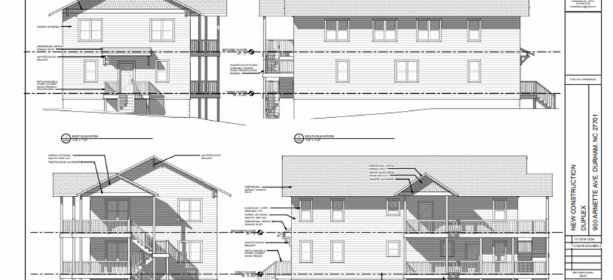 "Blueprints for Jillian Johnson's proposed ""micro-development"" project, a two-unit duplex that will serve as affordable housing in her Durham neighborhood."
