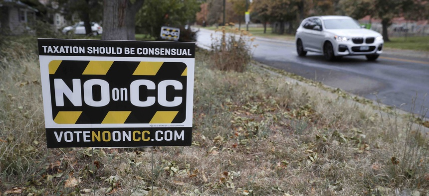 A lawn sign urges voters to oppose Proposition CC, which would have relaxed a Colorado law that restricts the state's taxing power. Voters rejected the measure in November.