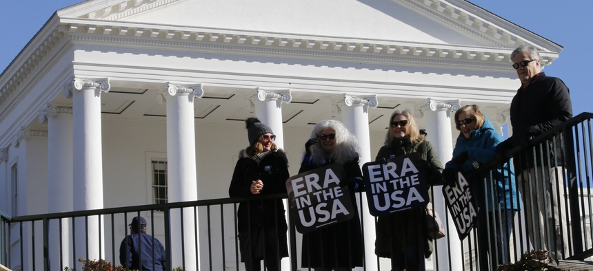 A demonstration in support of the ERA outside the Virginia state capitol in January.