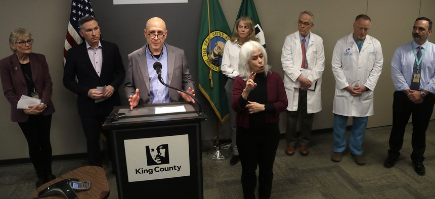 Dr. Jeff Duchin, Health Officer for Seattle & King County, addresses a news conference. King County bought a motel this week to hold people infected with coronavirus.