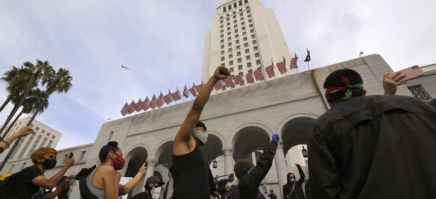 Protesters outside Los Angeles City Hall.