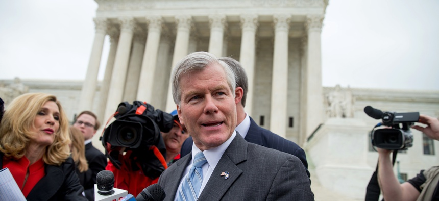 Former Virginia Gov. Bob McDonnell speaks outside the Supreme Court in Washington in 2016. The court overturned his corruption conviction.