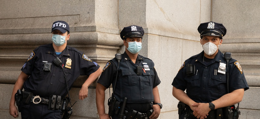 Members of the NYPD at a recent protest.