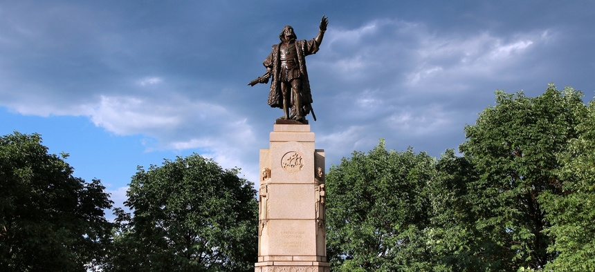 The Christopher Columbus statue in Chicago's Grant Park was removed recently.