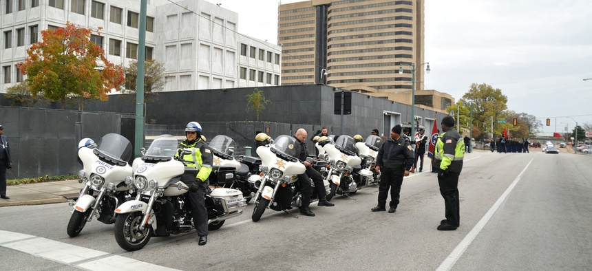 Police officers in Memphis, Tennessee at the Veterans Day Parade last year.