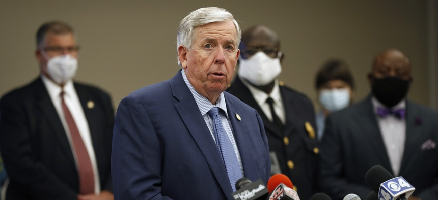 Missouri Gov. Mike Parson speaks during a news conference Thursday, Aug. 6, 2020, in St. Louis. Officials announced St. Louis has been added to the list of cities that will receive federal assistance through Operation Legend.
