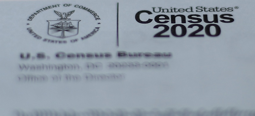 A 2020 census letter mailed to a U.S. resident, is shown in Detroit, Sunday, April 5, 2020.