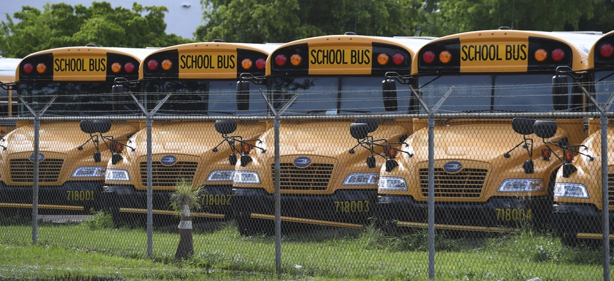 A Florida school bus depot is pictured as Broward County continues reopening discussions of a 100% eLearning instruction amid warnings of a surge in Covid-19 cases.