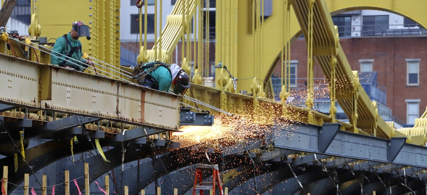 Worker on the Ninth Street bridge in Pittsburgh, on Wednesday, May 6, 2020.