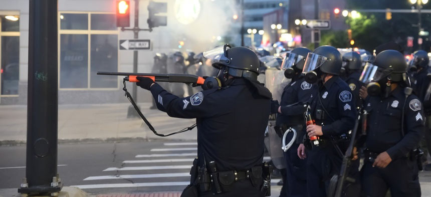 Detroit police fire rubber bullets at a protest in May.