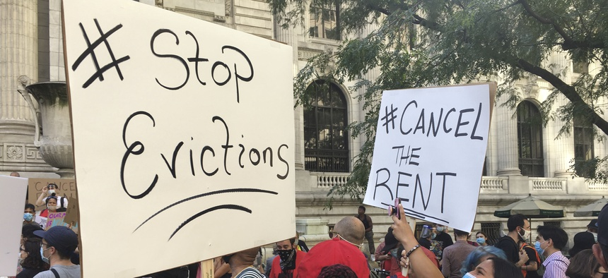 A march for rent reiief in New York City.