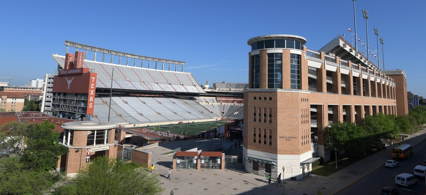 General overall view of Darrell K Royal Texas Memorial Stadium on the campus of the University of Texas in Austin.