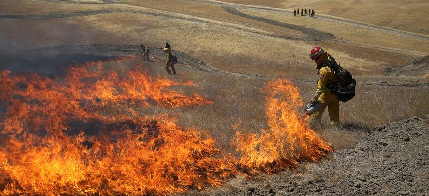 Firefighter train in California.