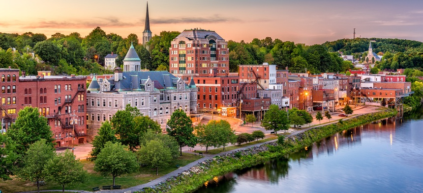 The skyline in downtown Augusta, Maine.