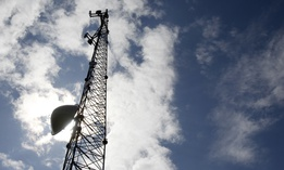 A new broadband tower rises into the sky on Wednesday, June 6, 2012 in Plainfield, Vt.