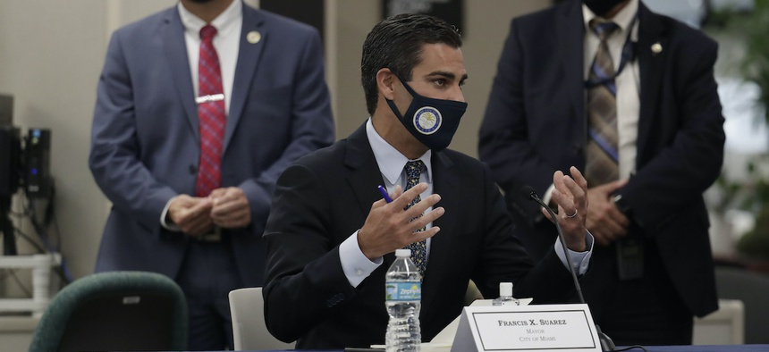 Miami Mayor Francis Suarez speaks during a roundtable discussion with Florida Gov. Ron DeSantis and Miami-Dade County mayors during the coronavirus pandemic, Tuesday, July 14, 2020, in Miami. Suarez was diagnosed with Covid-19 in March.