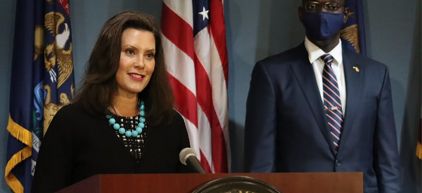In this photo provided by the Michigan Office of the Governor, Gov. Gretchen Whitmer addresses the state during a speech in Lansing, Mich., Thursday, Sept. 10, 2020.