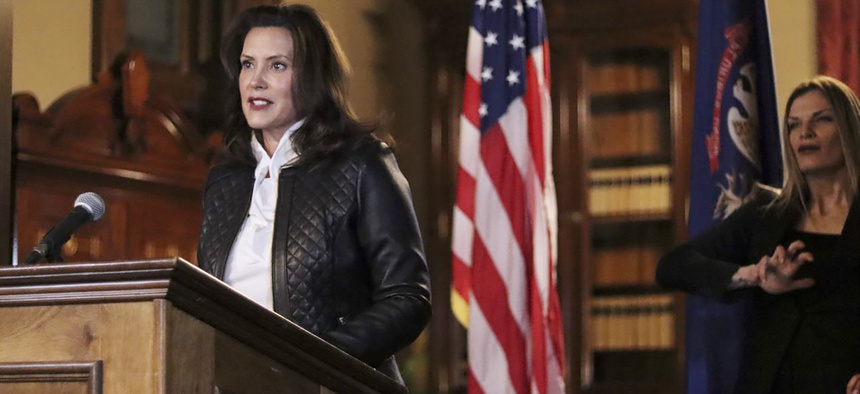 Michigan Gov. Gretchen Whitmer addresses the state during a speech in Lansing, Mich., Thursday, Oct. 8, 2020.