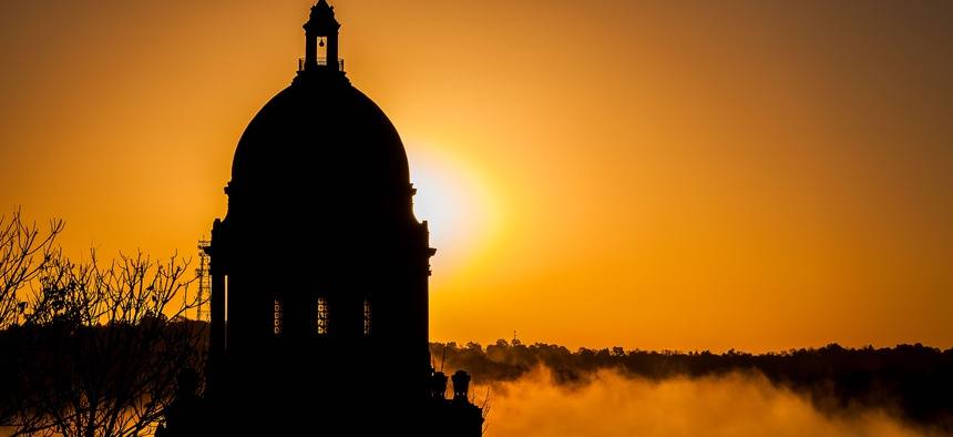 The Kentucky state capitol building, in Frankfort, on a foggy morning.