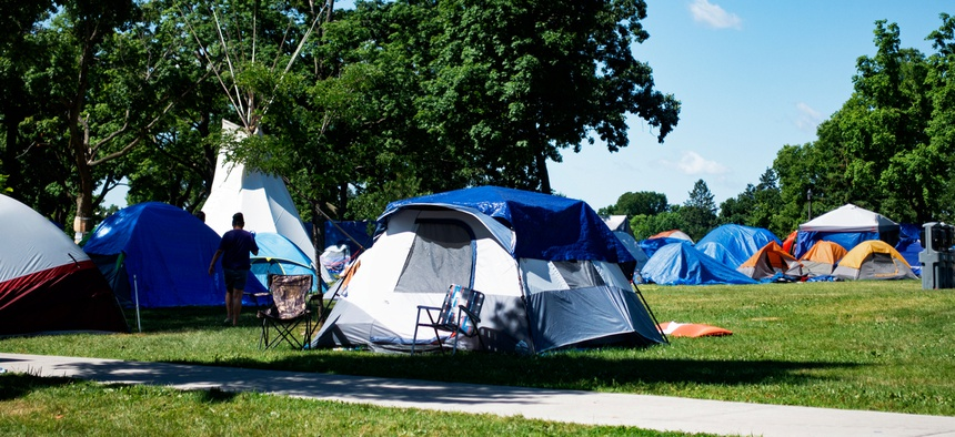 An encampment in Minneapolis' Powderhorn Park grew to 300 people this summer.