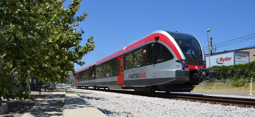 A Capital Metro train in East Austin.