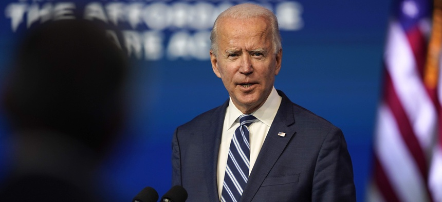 President-elect Joe Biden speaks Tuesday, Nov. 10, 2020, at The Queen theater in Wilmington, Del.