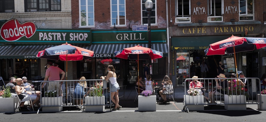 Outdoor dining in Boston. The pandemic has led to many innovations like closing public streets to expand outdoor dining. Governmentagenciesshould continue to identify creative programs and services during this crisis and beyond.
