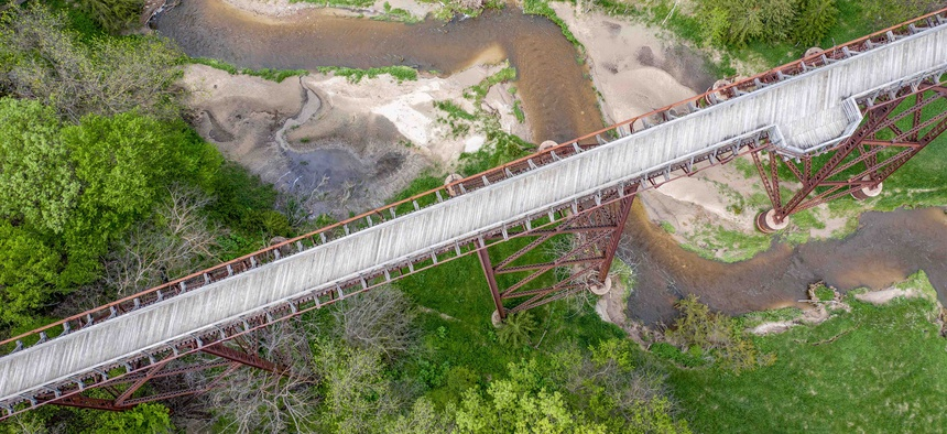 A bridge over a creek along Nebraska's Cowboy Trail.