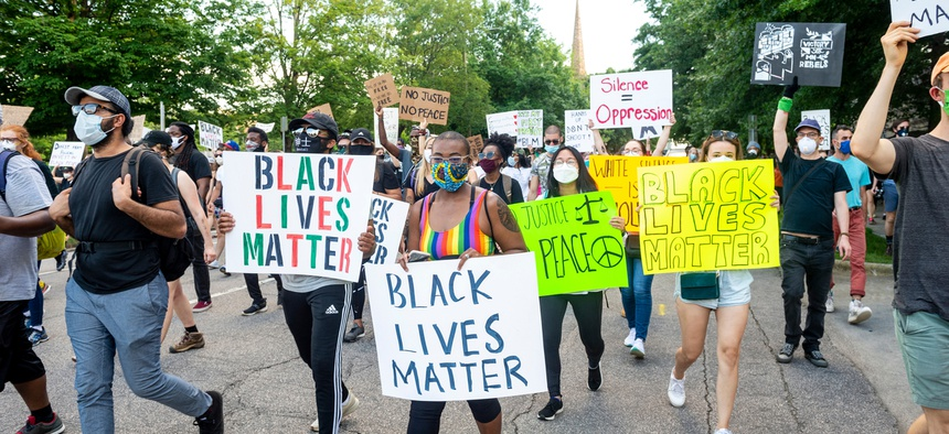 Protesters in Raleigh, North Carolina in May 2020.
