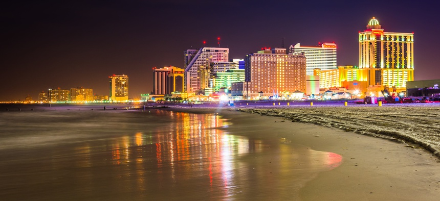 The skyline in Atlantic City, New Jersey.