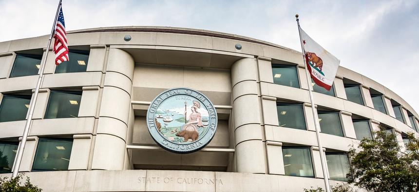 Main entrance of the California Public Utilities Commission headquarters building in San Francisco, California.