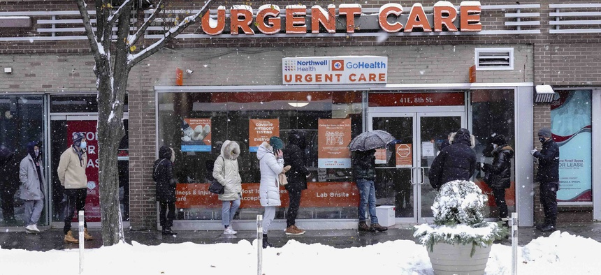 People line up outside a medical clinic for Covid-19 testing on Dec. 17, 2020 in New York City.