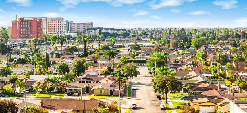 A neighborhood in Anaheim in Orange County, California.