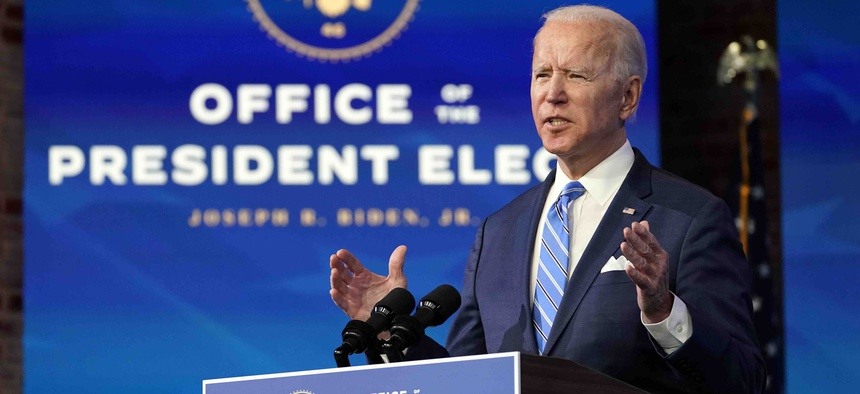 President-elect Joe Biden speaks about the COVID-19 pandemic during an event at The Queen theater, Thursday, Jan. 14, 2021, in Wilmington, Del.