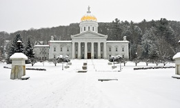Vermont's state capitol in winter weather.