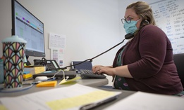 A staff member at the Umatilla County Public Health Department COVID-19 contact tracing center in Pendleton, Ore. in July 2020.