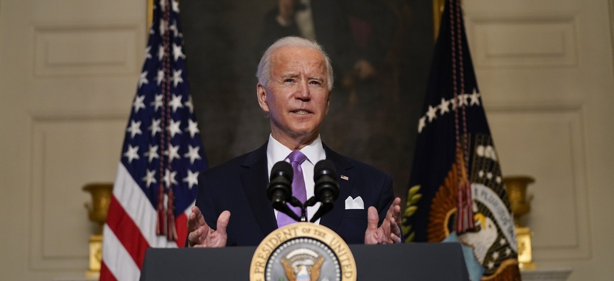 resident Joe Biden delivers remarks on COVID-19, in the State Dining Room of the White House, Tuesday, Jan. 26, 2021, in Washington.