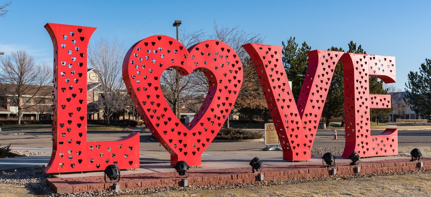 In Loveland, Colorado, love is all around—including in front of the Chamber of Commerce, the site of the love lock sculpture.