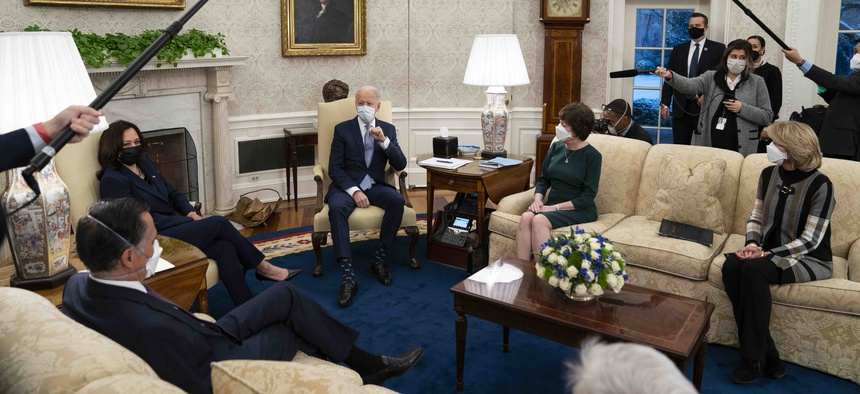 President Joe Biden meets Republican lawmakers to discuss a coronavirus relief package, in the Oval Office of the White House, Monday, Feb. 1, 2021, in Washington.