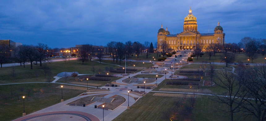 The state Capitol grounds in Des Moines, Iowa.