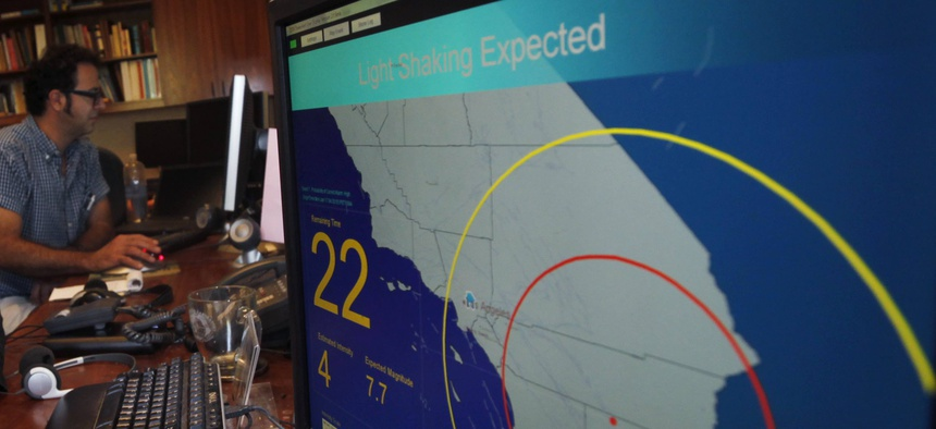 This 2011 photo shows an early earthquake warning system in Pasadena, Calif.