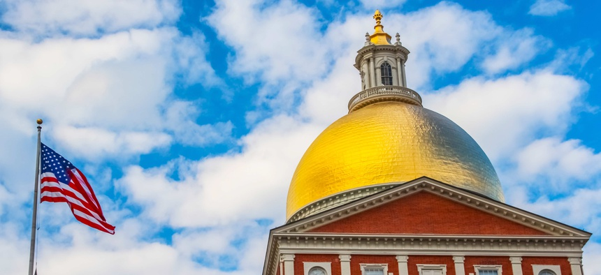The dome of the Massachusetts Statehouse.