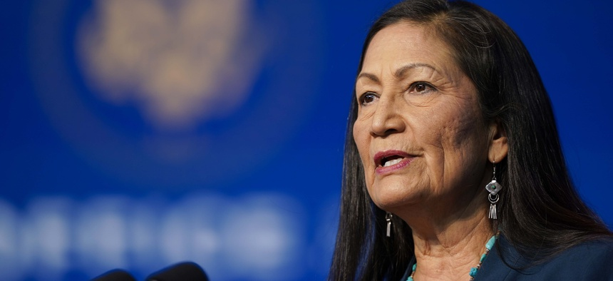 The Biden administration's nominee for Secretary of Interior, Rep. Deb Haaland, D-N.M., speaks at The Queen Theater in Wilmington Del., Saturday, Dec. 19, 2020.