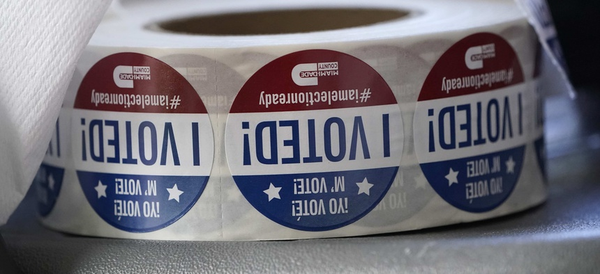 """A roll of """"I Voted!"""" stickers are shown, Tuesday, Oct. 6, 2020, at the Miami-Dade County Elections Department in Doral, Fla."""